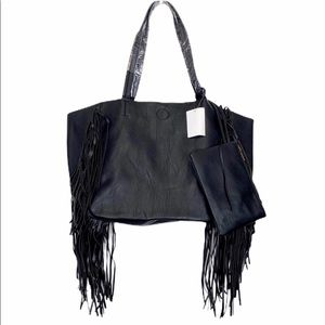Black fringe faux leather tote w/ small pouch NWT
